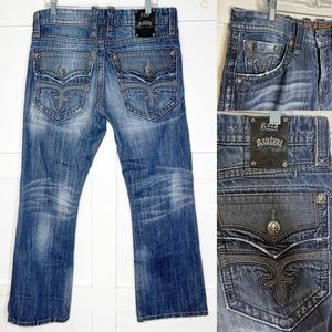 Rock Revival Leon Boot Jeans 34 x 32 Flap Pocket